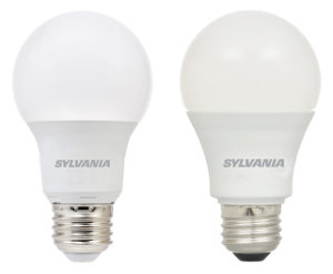 Two sizes of Sylvania LED A19 bulbs