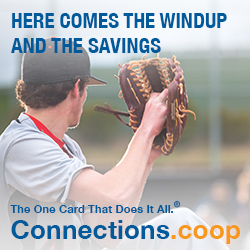 HERE COMES THE WINDUP AND THE SAVINGS. The one card that does it all. Connections.coop - A baseball player preparing to pitch the ball.