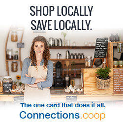 SHOP LOCALLY, SAVE LOCALLY. The one card that does it all. Connections.coop - Beverage shop employee standing at the shop's counter.