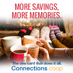 MORE SAVINGS, MORE MEMORIES. The one card that does it all. Connections.coop - Four people on a sofa enjoying cups of warm beverages in front of a toasty fireplace.