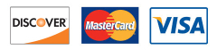 We accept Discover, MasterCard, and Visa.