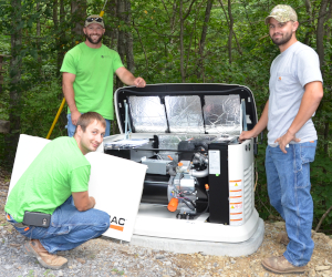 Valley REC electricians installing whole-house generator