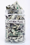 Glass jar labeled College Fund filled with money