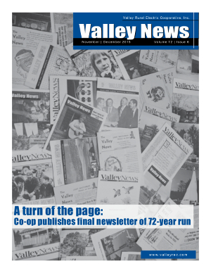 Final Valley News cover states, A turn of the page: Co-op publishes final newsletter of 72-year run.